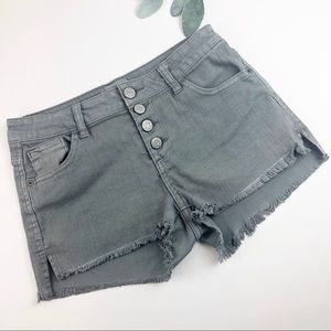 Gray Button Fly Cut Off Shorts Size 7/28